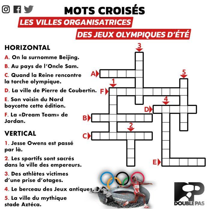 Mots croisés Double Pas, les villes organisatrices des Jeux olympiques d'été
